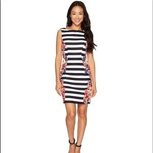 TAHARI BY ASL Petite Stripes & Floral Sheath Dress